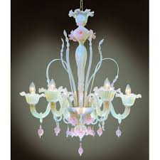 ducale 6 lights murano chandelier opal pink color