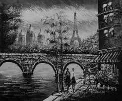 1 black and white eiffel tower