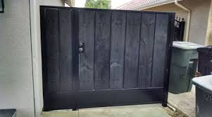 black simple wooden square gate iron gates with wood10