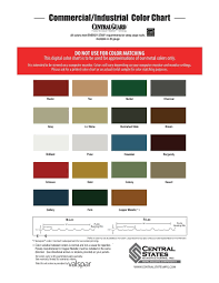 Central States Metal Color Chart Color Chart For Central States 1 Bluestar Steel Buildings