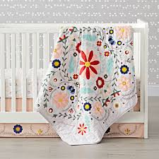 Baby Quilts | The Land of Nod & Baja Garden Embroidered Floral Baby Quilt Adamdwight.com