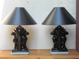 table lamps with black shades. Pair Large Deco Black Ceramic Panther Table Lamps With Shades