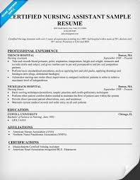 Gallery Of Free Sample Certified Nursing Assistant Resume Resume
