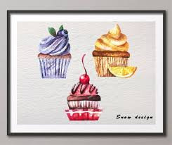 original watercolor cupcake pop wall art canvas painting cake illustration poster print pictures home kitchen decor on cupcake canvas print wall art with original watercolor cupcake pop wall art canvas painting cake