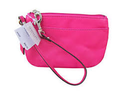 Image is loading Authentic-Coach-F45651-Pink-Fuchsia-Small-Leather-Wristlet-
