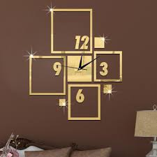 hollowed square two colors art mordern luxury design diy removable 3d crystal mirror wall clock wall sticker bedroom decor wall clocks ornamental