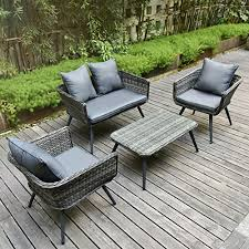 pamapic 4 piece outdoor patio wicker furniture sets with cushions unique design with round rattan pe rattan outdoor sectional sofa table with