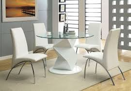 halawa ii contemporary white cal dining set with padded leatherette seat
