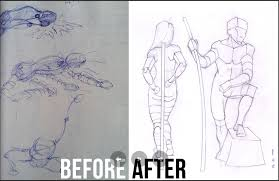 figure drawing tutorial before and after art progress