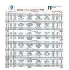 Calendario Partite 2016 SERIE B - speb new