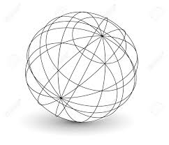 Vector wireframe sphere globe illustration royalty free cliparts