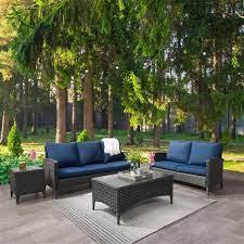 loveseat patio set blue cushions 4pc