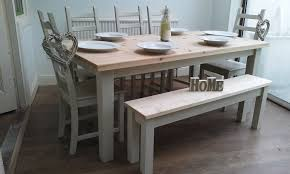 shabby chic contemporary large 6 pine table chairs bench newly upcycled