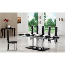 black extending gl dining table and 8 g601 chairs within seat