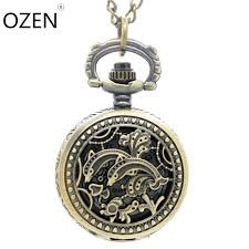 3103 vintage bronze solid flower pocket watch necklace watch pendant dia 2 7cm party gift watch necklace pocket watch necklace watch pendant