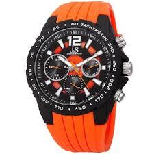 orange watches overstock com the best prices on designer mens joshua sone men s quartz multifunction tachymeter orange strap watch
