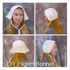 girl with pilgrim bonnet made out of fabric