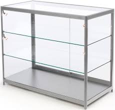 Display Case Led Lighting Fixtures 72 Retail Display Counter W 4 Led Lights Sliding Doors