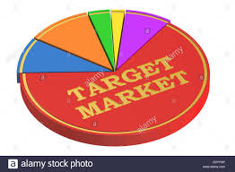 Target Stock Chart Target Market Concept With Pie Chart 3d Rendering Isolated