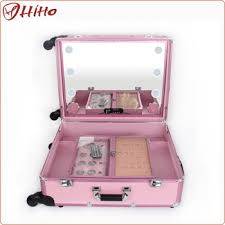 pink dance makeup case with lighted mirror