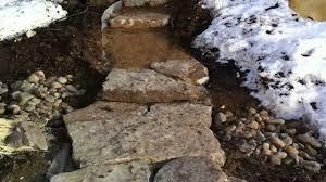 installing large stone landscape steps part 2 landscape construction you