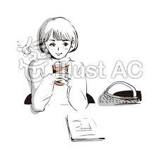 コーヒーをのんびり楽しむオシャレな女の子イラスト No 1060902無料