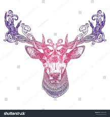 Stock Vektor Ornamental Lilac Tattoo Deer Head Highly Bez