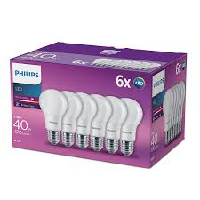 Philips Led A60 E27 Edison Screw Bulbs Frosted 55 W 40 W Warm White Pack Of 6