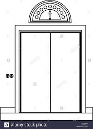 closed door clipart. Monochrome Contour With Elevator Closed Door Vector Illustration - Stock Clipart