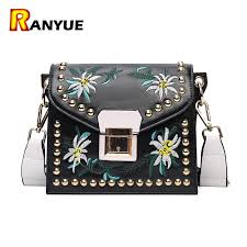 vintage rivet fl embroidered handbags leather bags women purse ethnic embroidery bag small shoulder women messenger bags branded bags leather backpacks
