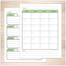 monthly weekly calendar green monthly weekly calendar planner pages printable at printable