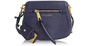 marc jacobs recruit midnight blue leather small saddle bag in blue lyst