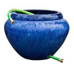 terra cotta garden hose pot blue