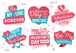 vector valentine s day labels
