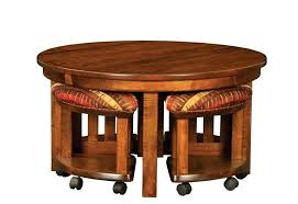 table with stools underneath round coffee table with chairs underneath brown color furnish brown coffee table