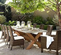 pottery barn outdoor furniture zinc top rectangular fixed dining table chair set for outdoor design