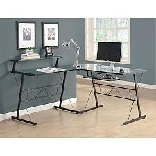 glass top desk office depot. monarch specialties l shaped computer desk glass top office depot