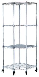 ecostorage 4 tier nsf corner wire shelving rack with wheels chrome