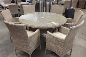 luxurious beige rattan garden furniture 6 carver chairs round dining set with cushions