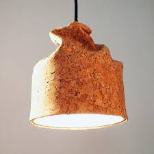 pendant lamp contemporary cork ceramic organic by rodrigo vairinhos