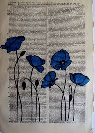 using old book pages as the canvas for your artwork is a favorite blue poppies