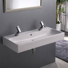 bathroom sink cerastyle 080500 u two hole trough ceramic wall mounted or