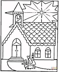 Small Picture Family Visits Church on Christmas coloring page Free Printable