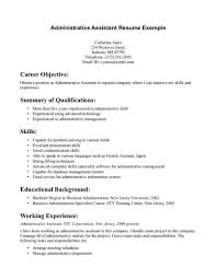 Resume Summary Examples Administrative Assistant Summary Qualifications Sample Resume For Administrative Gallery 11