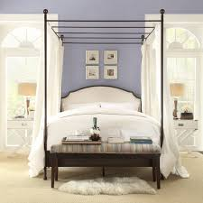 Andover Cream Linen Curved Headboard Cherry Brown Canopy Poster Bed by  iNSPIRE Q Classic - Free Shipping Today - Overstock.com - 16605806