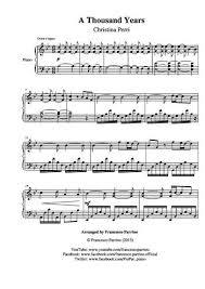 A Thousand Years Sheet Music A Thousand Years Free Sheet Music By Christina Perri