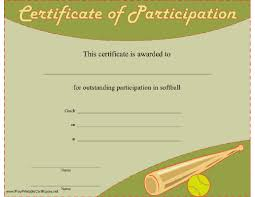 Softball Participation Certificate Printable Certificate