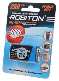 <b>Аккумулятор</b> Ni-Mh 250 мА·ч <b>ROBITON</b> 9V <b>Крона</b> 6F22 250 ...