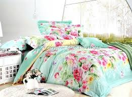 full image for new queen bedding sets quality cotton red yellow green flower pattern blue duvet