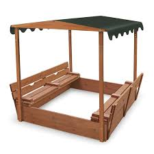 badger basket covered convertible cedar sandbox with canopy and two bench seats hayneedle